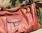 Vintage Leather Travel Bag Gym Bag Carry on Luggage Weekend Bag