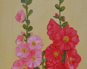Original Oil PAinting, PInk Hollyhock, Flower Painting, Floral Painting, Small Oil Painting 8 x 10 Canvas Panel