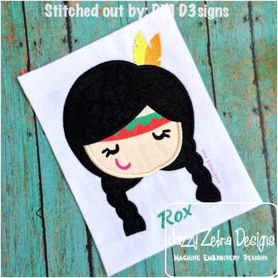 Indian Girl 80 Appliqué embroidery Design - indian Applique Design - girl Appliqué Design - thanksgiving Applique Design