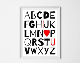 Alphabet I Love You Print / Instant Download Digital / Love Typography Romantic Print / Modern Nursery Decor / DIY Printable Valentine Heart