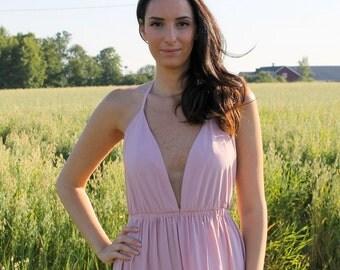 Bridesmaids dress, wedding dress, prom dress, evening dress, open back dress, backless dress, pink dress, maxi dress.
