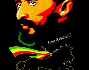 Men's Haile Selassie Rastafari ~ Lion Of Judah One Love Black T-shirt | Rasta Clothing | Rasta T-shirts | Free Shipping
