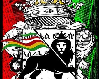 Women's  Rastafari ~ Lion Of Judah Fitted Black T-shirt | Rasta Clothing | Rasta T-shirts | Free Shipping