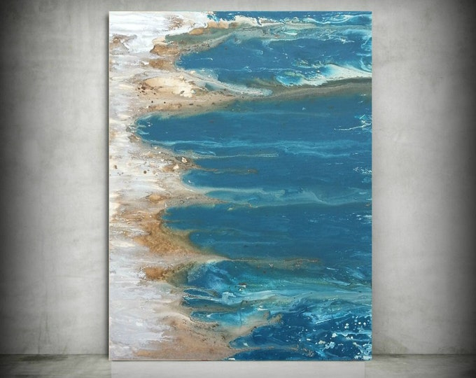 ORIGINAL Painting Art Painting Acrylic Painting Abstract Painting Coastal Wall Hanging Extra Large Wall Art XL Coastal Home Decor 30 x 40