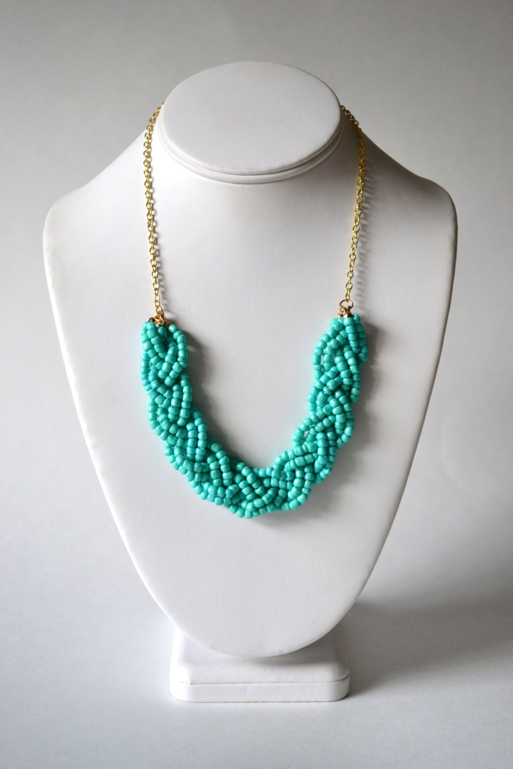 Teal Beaded Braid Statement Necklace Teal Necklace Teal