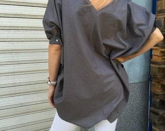 Women Grey Extravagant Shirt / Asymmetric Cotton shirt / Oversize white shirt / Grey asymmetric top / EXPRESS SHIPPING / MD 10606