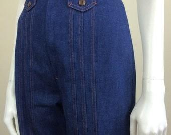dark denim high waisted flared bellbottom jeans deadstock 70's