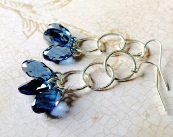 Swarovski Crystal Earrings, STERLING SILVER Earrings, STERLING Rings, Dangling Swarovski Montana Blue Crystal Briolettes, Modern Jewelry