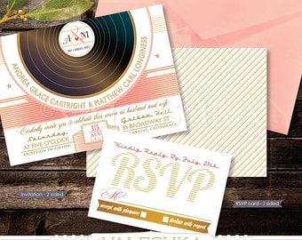 Vinyl Record Wedding Invitation & RSVP Retro Creative Music Invitation Record Vinyl Vintage Unique and Fun Digital Printable