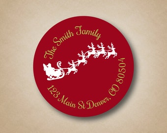 Christmas Return Address Label Red Address Label Flying Santa in Sleigh Custom Address Label Stickers Holiday Address Labels Christmas Cards