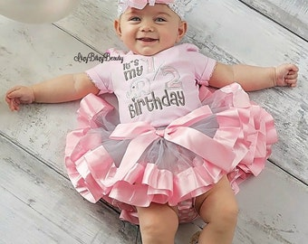 half 6 months birthday elephant embroidered shirt tutu headband baby girls outfit pink and grey