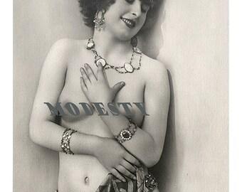 "Erotic semi nude Mata Hari styled deco era woman quality reproduced photograph 6x4"" jpg print black and white download 99p"
