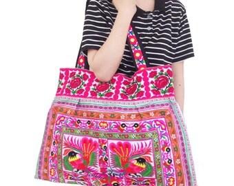 Shoulder Bag Flat Strap - Bird Strips Embroidered Fabric Handmade Thailand