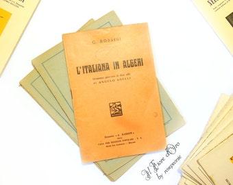 """Vintage libretto book of """" L'Italiana in Algeri """" by Angelo Anelli, set to music by Gioacchino Rossini, Italian 1930 / 1940 unique edition"""