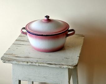 Vintage French Enamel Cooking Pot - Shabby Chic Kitchen Decoration - Cottage Style - Rustic Kitchenalia - 1930's - Enamelware