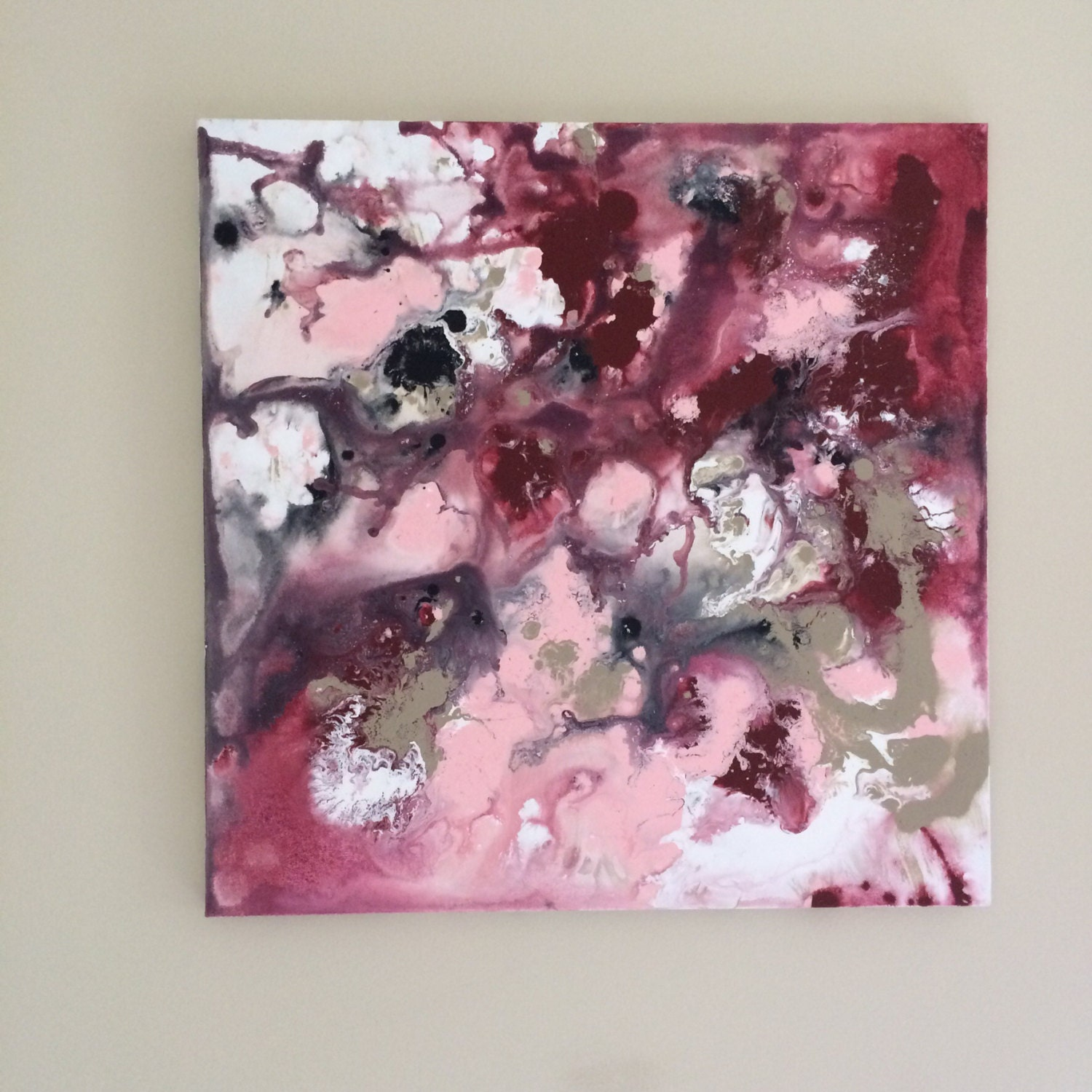 Purple And Silver Bedroom Ideas Abstract Flow Art Burgundy Pink Art Pink Painting Original
