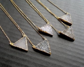 Druzy Necklace Druzy Triangle Necklace Gold Edged Druzy Drusy Jewelry Natural Color Stone Necklace Gold Edged Layering Druzy Necklacel