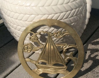 SALE....Vintage Brass Nautical Sail Boat Trivet, Coastal Decor, Beach Decor,