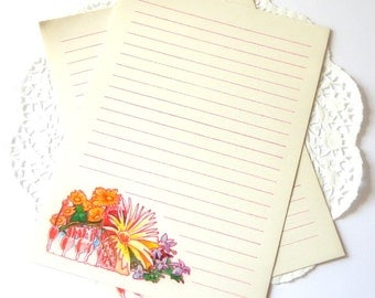 Vintage Pink Lined Stationery. Flower Stationery. Writing Paper. Letter Writing. Note Paper. Journal Paper. Journal Ephemera. Art Journal.