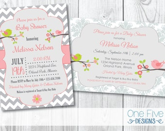 Bird Themed Baby Shower Invitation - Damask or Chevron - Printable (5x7)