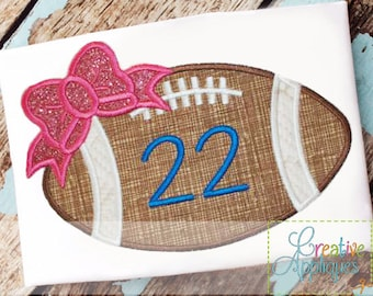 Football Bow Monogram Applique Digital Machine Embroidery Design 4 Sizes