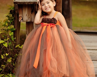 Fall Flower Girl Dress, Autumn Tutu Dress,  Baby Tutu Dress, Toddler Tutu Dress