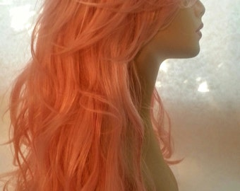 Mermaid, Pink Wig, Long, Deep Waves and Sweeping Bangs, Synthetic, Pink Wig, Wig , Drag, Party, Cosplay, Comi-Con, Fairy, Ball,