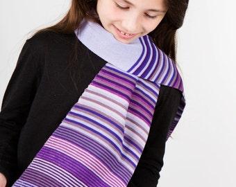 Purple Scarf, Striped Scarf, Girls Scarf, Flower Scarf, Personalised Scarf, Winter Scarf, Kids Scarf, Gift Idea,Fall Scarf, Neck Warmer, 234
