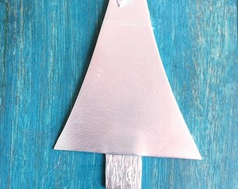 Pewter Stamping Blanks - Wide Christmas Tree - Christmas Ornament Blanks - Handstamping Supplies - Wholesale Jewelry Supply (M215B)