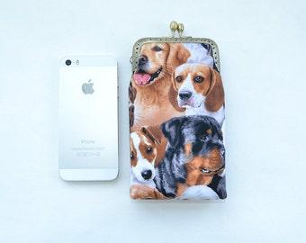 Dog phone case, iphone 6 wallet case, wristlet wallet, iPhone 5s wallet case, smartphone case, iPhone dog case, Girlfriend Gift