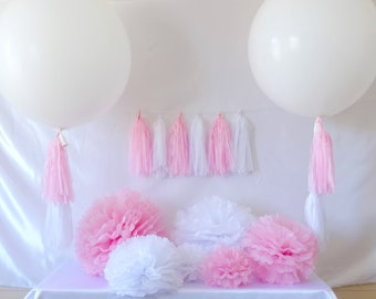 Pink Party Decoration Kit, DIY Party in Box, Pom Poms, Paper Tissue Tassels, 36in Round Balloon, Tissue Tassel Garland, 3ft Balloon