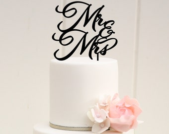 Wedding Cake Topper - Mr & Mrs Cake Topper - Wedding Decor