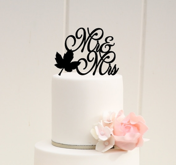fall leaf wedding cake topper fall leaf mr and mrs wedding cake topper or bridal shower cake 14147