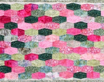 Baby Quilt, Batik, Green, Pink, Made in USA,