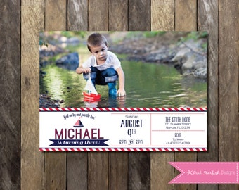 PRINTABLE Nautical First Birthday Invitation with Picture - Sailboat 1st Birthday 2nd Birthday 3rd Birthday Invitation 4x6 or 5x7