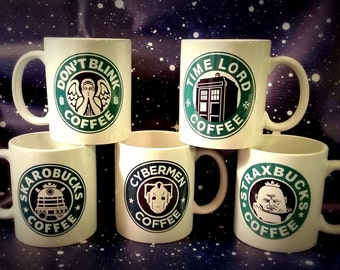 Doctor Who Inspired Ceramic Coffee Mugs