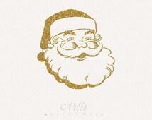 Jolly Santa Face - Gold Glitter ClipArt Transparent PNG Digital Overlay