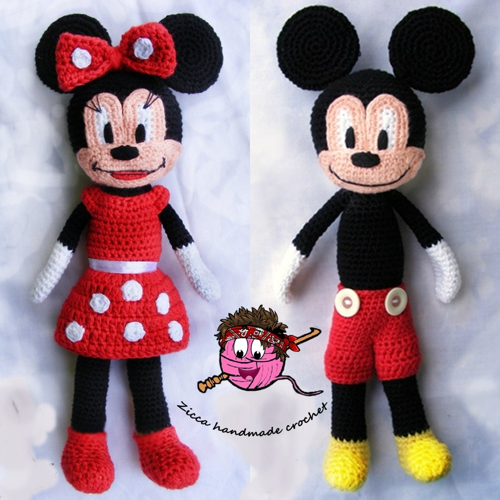 Cochet mickey mouse and minnie mouse doll pattern