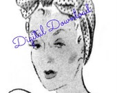 Dusting Cap, Rosie Riviter, Turban, Head Wrap, Vintage 1930's Sewing Pattern, Digital Download, Instant PDF
