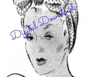 Dusting Cap, Rosie Riviter, Turban, Head Wrap, Vintage 1930's Sewing Pattern, Digital Download, Instant PDF