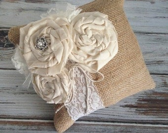 "Rustic wedding Burlap and lace ring bearer pillow Rustic ring bearer pillow Wedding ring pillow Country wedding Barn Wedding 8"" x 8"""