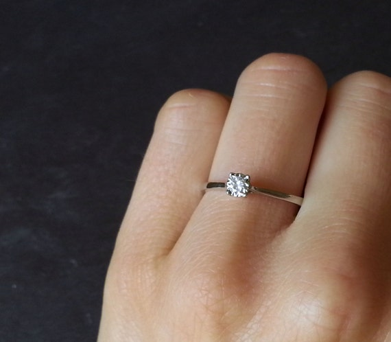 Skinny Solitaire Engagement Ring Thin Band Diamond White Gold