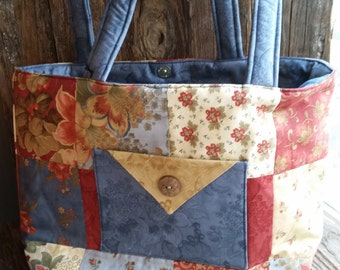 Red and Blue Floral Tote