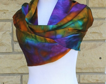 "Hand dyed Charmeuse silk scarf 14""x72"". Muilti color abstract  Charmeuse silk, made to order"