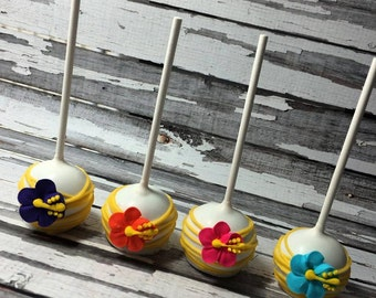 12 Luau Hibiscus Cake Pops Summer Birthday Beach Party Favors Sweets Table Candy Buffet
