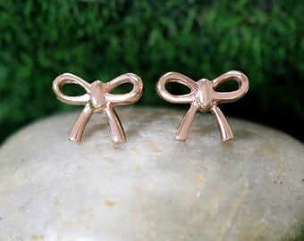 9x12MM Bow Ribbon Studs | Solid 14K Gold | Whimsical Minimalist Earrings | Fine Jewelry | Free Shipping