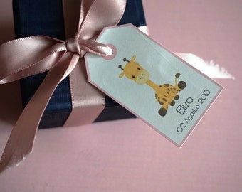 "Baby Shower Tags -  ""GIRAFFE"""