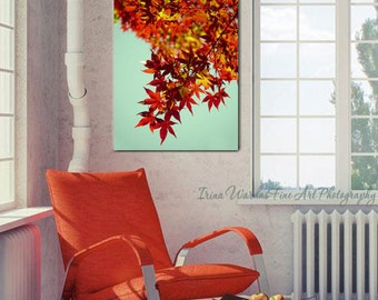 Maple tree photography, maple leaf art print, branch art vertical canvas, red & mint wall art autumn nature artwork, rust burnt orange decor