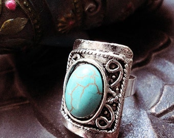 Turquoise Ring, Gypsy Jewelry, Boho Ring, Large Ring, Adjustable
