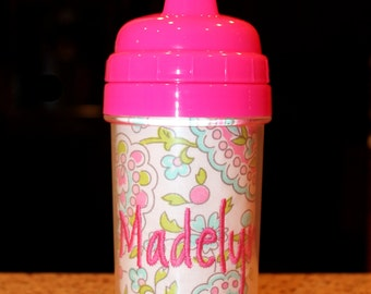 Pink/Aqua Paisley Monogram Sippy Cup - Personalized w/ Monogram or Name - SIPPY or STRAW Top options